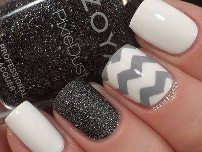 White Nails with White and Grey Chevron Accent and Black Glitter Accent