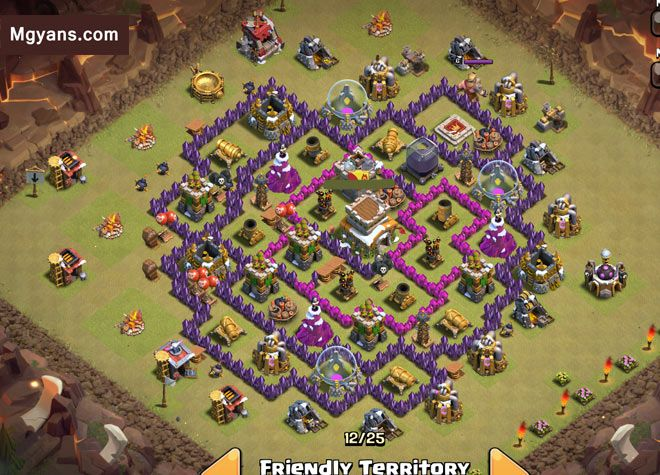 clash of clans base with bomb tower th9