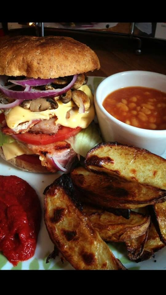 slimming world bacon double cheese burger, syn free with extra easy and HEA & B