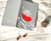 Hedgehog Travel journal Handpainted Notebook Red Teapot Sleigh