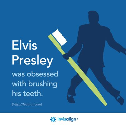 Elvis was obsessed with brushing his teeth. How many times a day do you brush? #Fact #Smile #Music