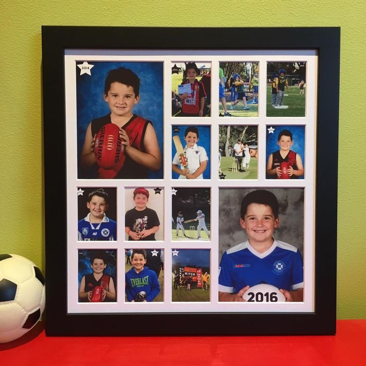 Large School Years Photo Frame (with preschool)  Weekend project completed 🤗 I have made use of 3 years of professional photos mixed in with some happy snap action shots. One happy sports mad boy 😀⚽️🏏🤾🏻‍♂️