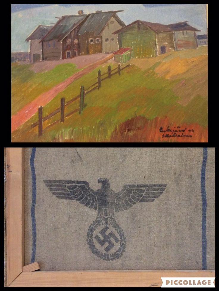 Erkki Matilaisen sota-aikana tekemän maalauksen taustalta paljastuu, että pohjana on käytetty Saksan armeijan vilja- tai perunasäkkiä.
