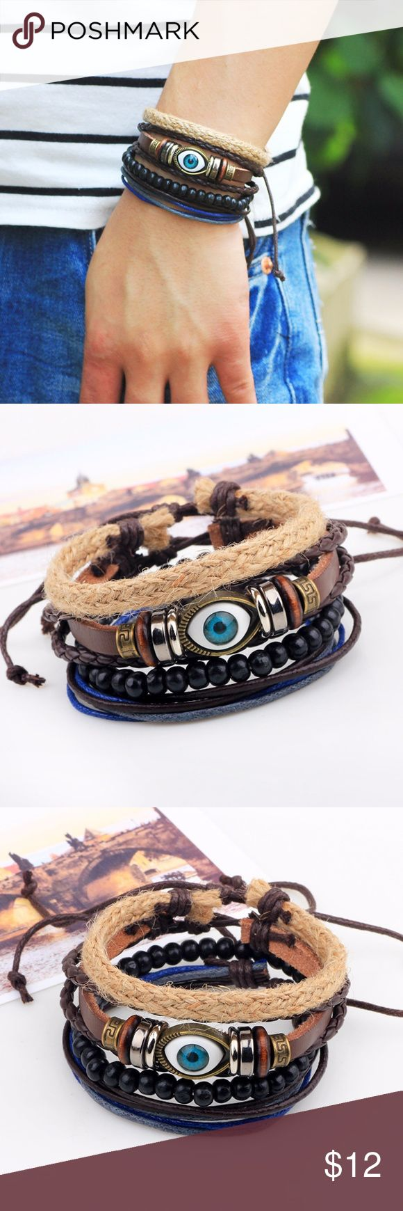 Fashion Jewelry Bracelets Evil Eye Assorted Leather Bracelet Braid Hemp Cord  Feature: fashion, vintage, handmade  Material: leather, coconut beads, hemp cord, braid belt  Specifications: 6cm in diameter, 18-20cm in length,?adjustable  Weight: 20g  Makes a great gift for friend and family or self purchase  Birthday gift, Christmas gift, Valentine's gift and etc Jewelry Bracelets