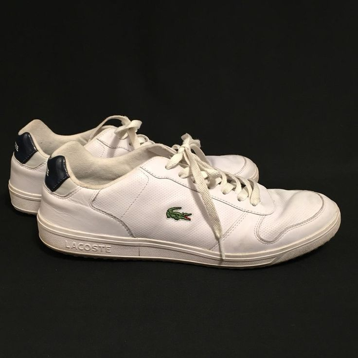 Lacoste White Leather Tennis Shoes Sneakers Lowtop Mens Size 12 USA  #Lacoste #sneakers