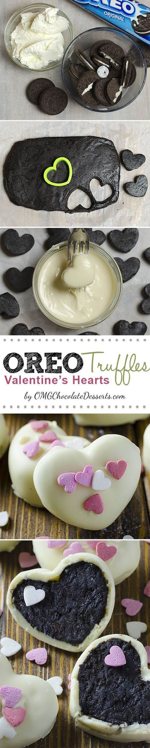 These are 3 ingredient heart shaped Oreo Cream Cheese Truffles covered with white chocolate, perfect for Valentines Day