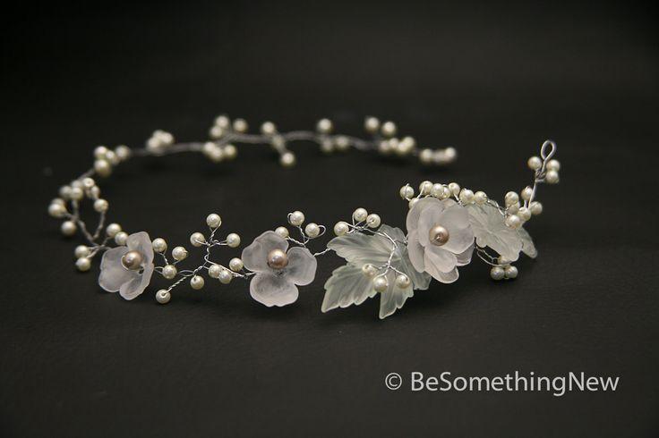 Hair vine, Wired pearls and vintage flower headpiece, wedding hair. $87.00, via Etsy.