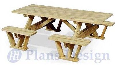 Traditional-Rectangle-Picnic-Table-Bench-Out-Door-Furniture-Plans-ODF02