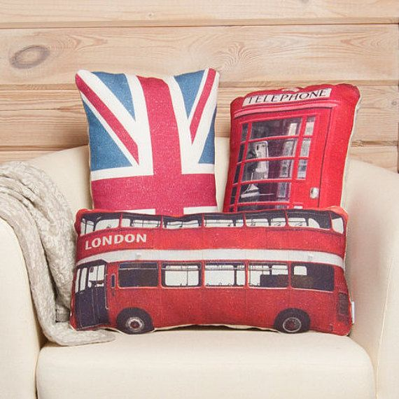 United Kingdom Pillows – great britain prints on cushions, british union jack flag, london bus, red telephone box, set of 3