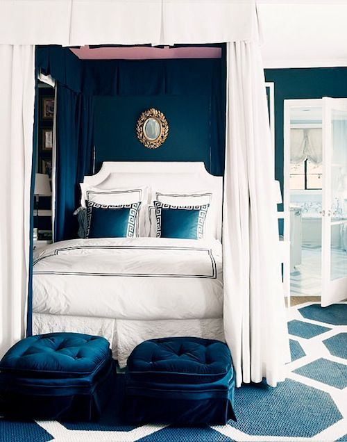 Canopy.  Navy and white.  Hint of pink on the top of the bed. www.bibleforfashion.com #bibleforfashion