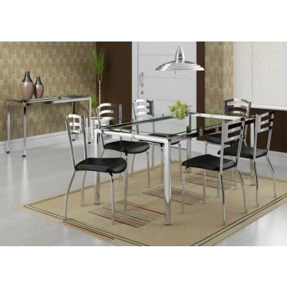 Curtiu esse conjunto Sala de Jantar completa com Mesa e Cadeiras cromadas?! Promoção na www.criartambientes.com.br/conjunto-singapura-carraro-preto-mesa-cromada-com-vidro-e-6-cadeiras.html