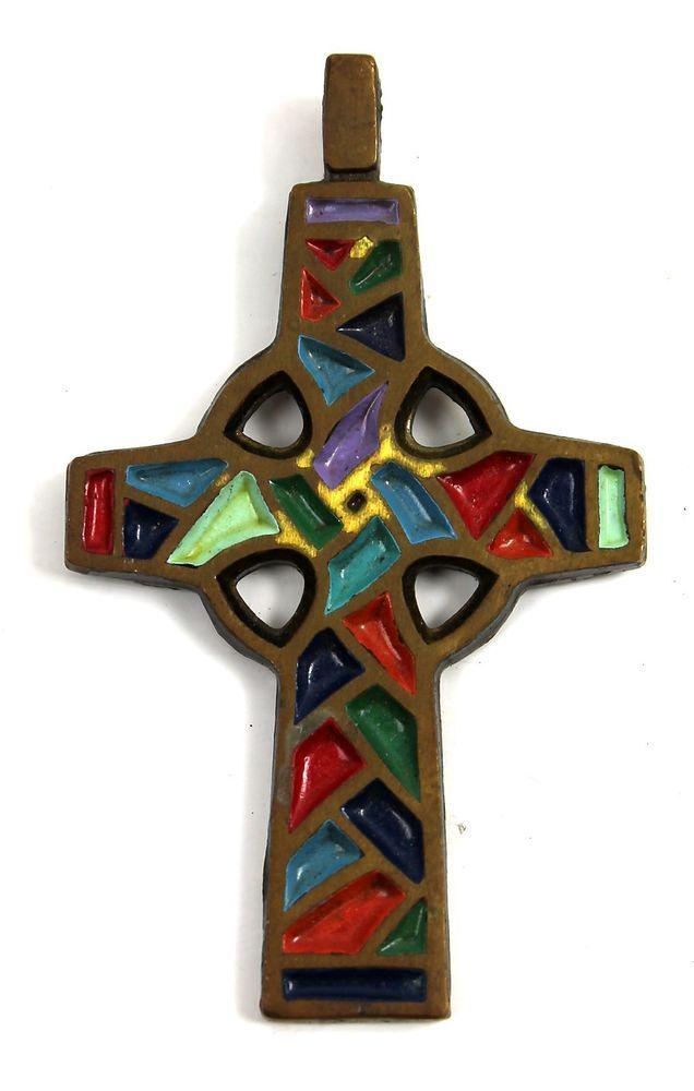 Vintage 1969 Terra Sancta Guild Brass Enamel Mosaic Cross