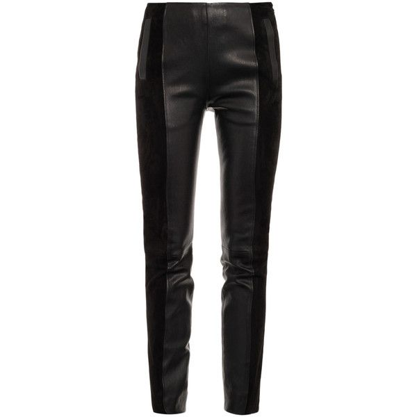 Balenciaga Le slim suede and leather leggings (119.955 RUB) found on Polyvore featuring women's fashion, pants, leggings, bottoms, jeans, pantalones, high waisted leather pants, high waisted leather leggings, high-waisted leggings and leather skinny pants