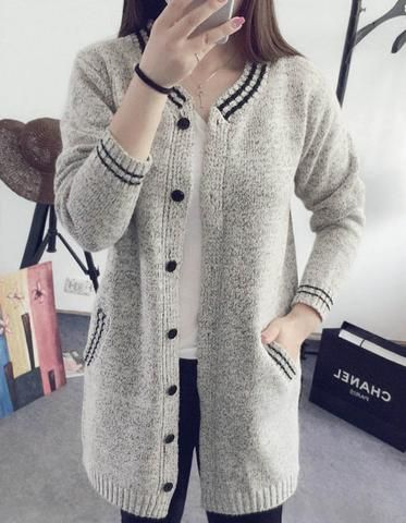 Gray V Neck Wool Cardigan Sweater