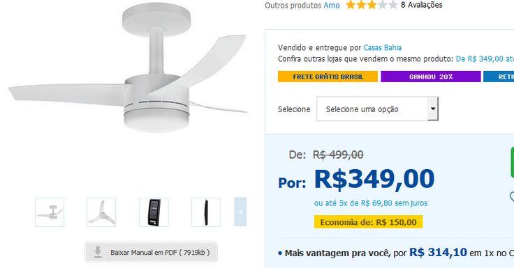 Ventilador de Teto Arno Ultimate VX 10 com Luminária Controle Remoto e Função Timer << R$ 27920 em 5 vezes >>