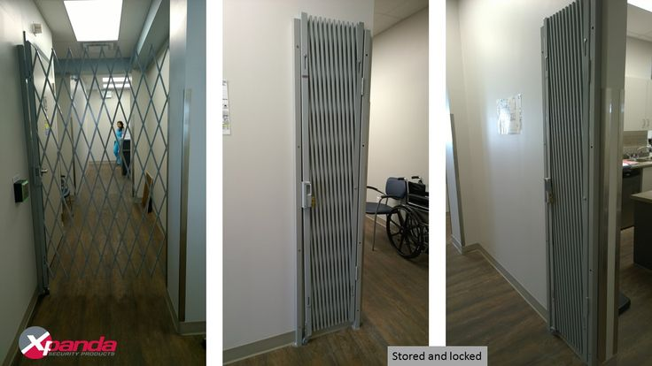 Hallway security barriers or security gates can be used when needed to control access and they can retract and store in a locked position when not in use