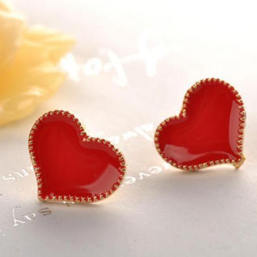 Heart Earrings  Red - One Size