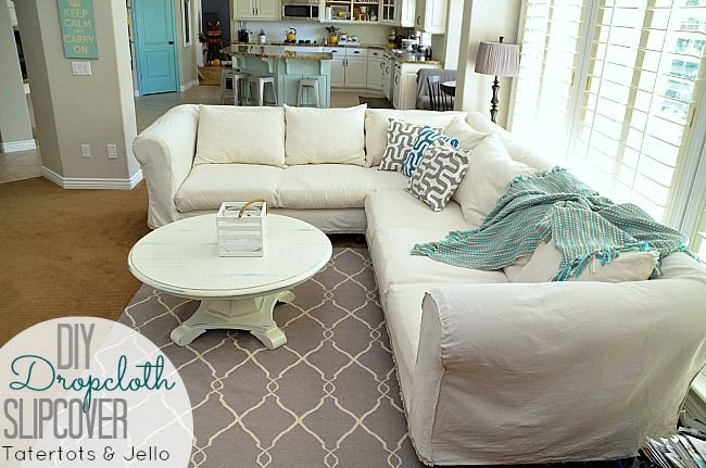 Make a Dropcloth Sofa Sectional Slipcover! -- Tatertots and Jello