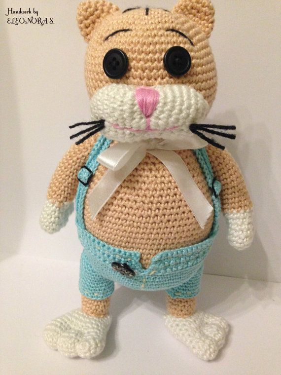Amigurumi crochet fat cat in trousers gift toy by ILoveAmigurumi