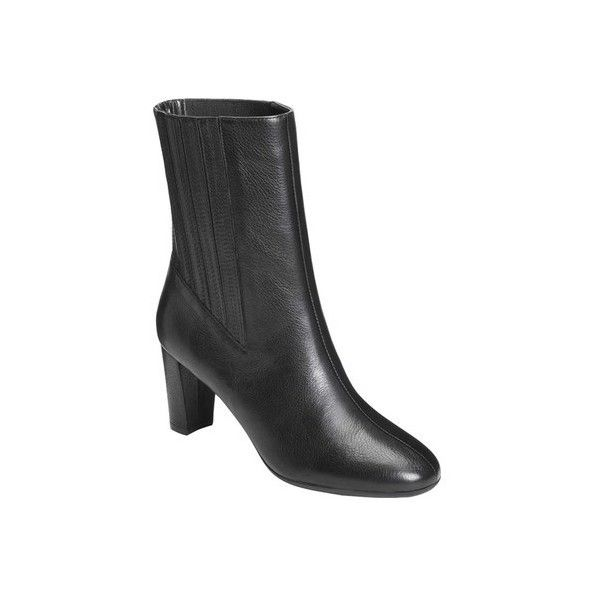 Women's Aerosoles Fifth Ave Mid-Calf Boot ($90) ❤ liked on Polyvore featuring shoes, boots, black, casual, comfort shoes, leather high heel boots, mid calf leather boots, tall leather boots, tall high heel boots and black boots