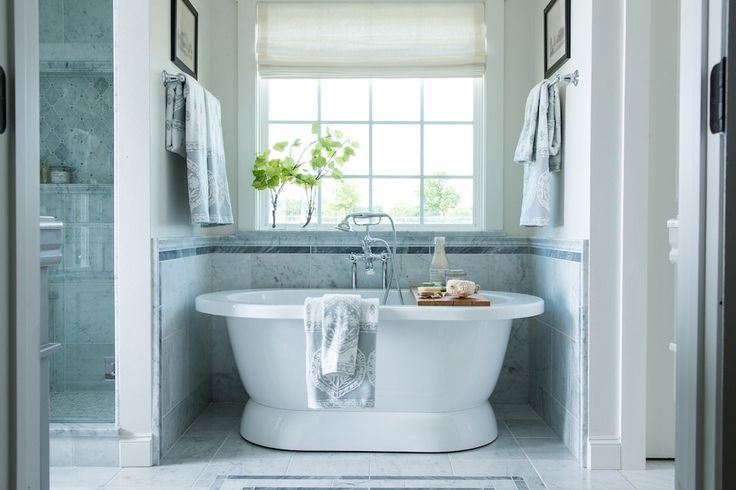 The master bathroom is one of my favorite spaces in this home. Stephanie really wanted a bathroom that was spacious and comfortable, with both a tub and a stand-up shower.