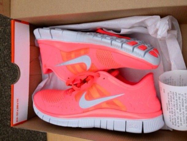 free runners, pink, neon coral nike sneakers