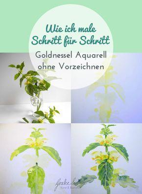 Schritt für Schritt – Goldnessel Aquarell