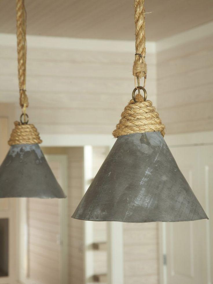 Rustic tin sisal rope pendants via designer amanda for Diy rustic pendant light