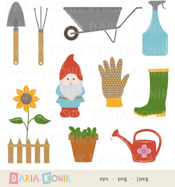 Garden clip art set gardening clip art gardening utensils for Gardening tools 6 letters