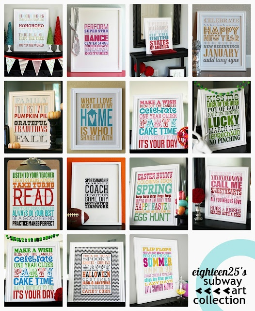 Love this subway art collection. These are a FREE download and make a great piece of decor.