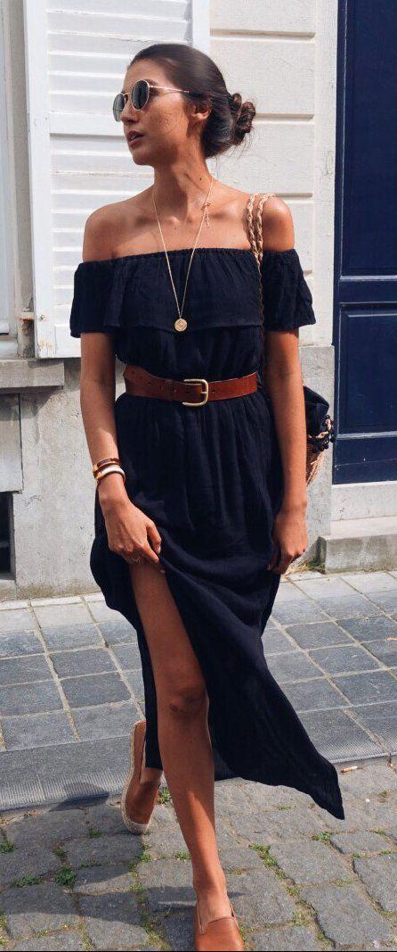 #summer #outfits Black Off The Shoulder Maxi Dress + Nude Pumps