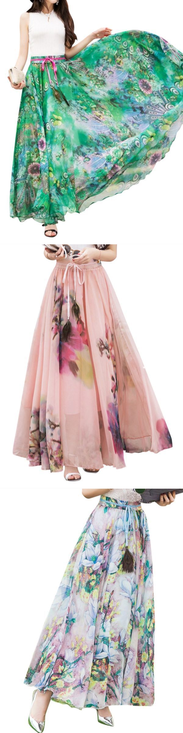 Summer bohemian floral printed beach chiffon maxi shirts ramp;m richards skirts #skirts #calf #length #skirts #in #the #wind #skirts #riding #up #title #9 #skirts