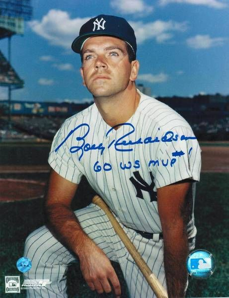 "Bobby Richardson New York Yankees Autographed 8x10 Photo Inscribed """"60 WS MVP"""" -Kneeling-"