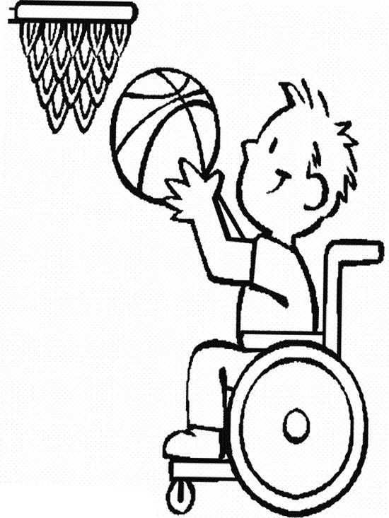 The child disabilities athlete basketball coloring page for Sillas para colorear