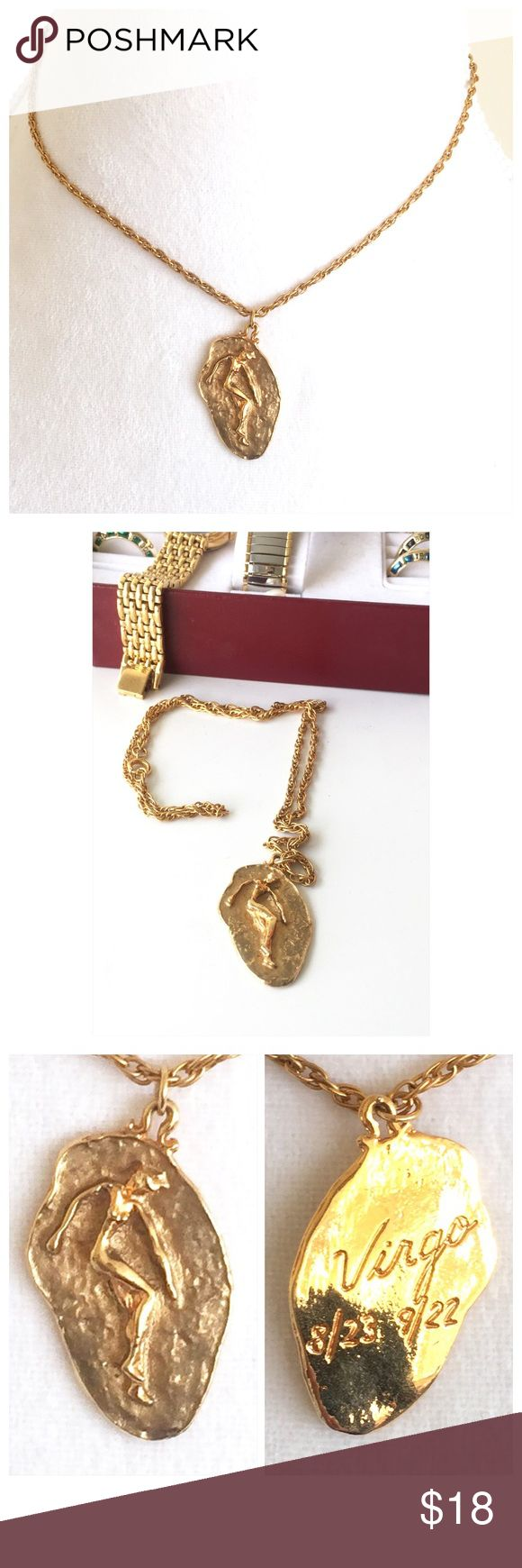 "Gold Tone Horoscope Sign VIRGO Pendant Necklace Gold Tone Horoscope Sign VIRGO Pendant Necklace. Total length of Necklace is 10.5"". Clasp closure. All my items are from a smoke free environment. Prices are negotiable. Thank you for stopping by!! Boutique Jewelry Necklaces"
