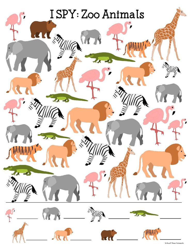 I SPY Printable for Kids: Zoo Animals | School Time Snippets