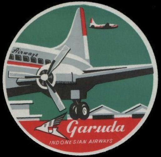 Old Garuda Indonesia airline luggage label