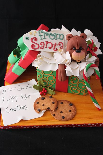 Open on Christmas gift box cake by Andrea's SweetCakes, via Flickr