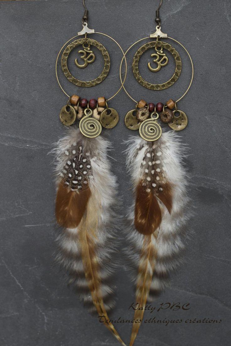 """Boucles d'oreille ethnique plumes """"Anjana"""" - plumes perles et bronze : Boucles d'oreille par tendances-ethniques-creations"""