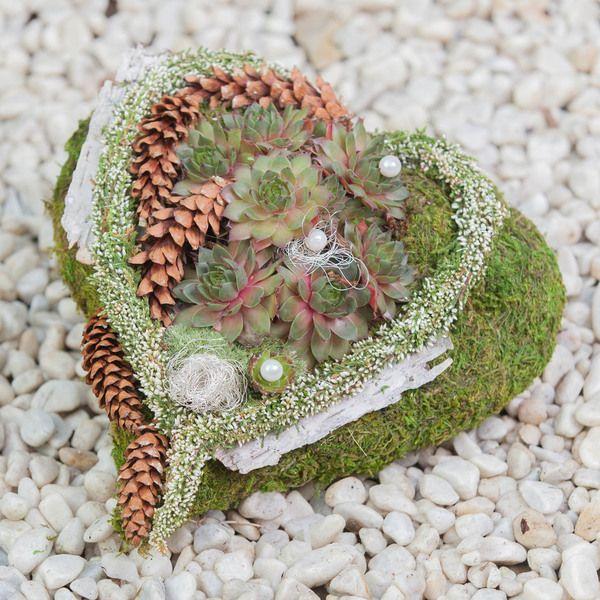 .Dieses Herz aus Moos ist ein besonderer  Schmuck für Allerheiligen oder Totensonntag. Man legt es zum Zeichen der Verbundenheit auf dem Grab ab.  Es ist bepflanzt mit einer winterharten, lebenden...
