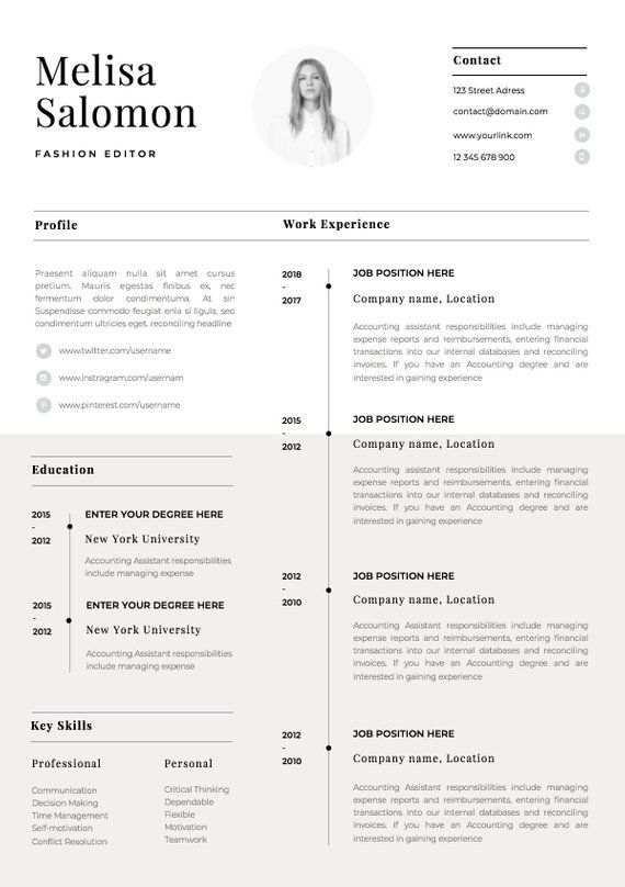 One Page Resume Template With Photo For Word Pages Cv Etsy In 2020 One Page Resume Template Cv Template Word Resume Template Word