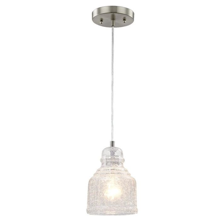 The 1 Light Mini Pendant offers a fashionable brushed nickel finish which blends with traditional and transitional décor. The clear glass shade in a distinctive shape is stunning when illuminated. Ideal for kitchens, dining room, bedroom and bathrooms. It uses one medium-base light bulb, 60-watt maximum (not included). The fixture is ETL/CETL listed for safety.