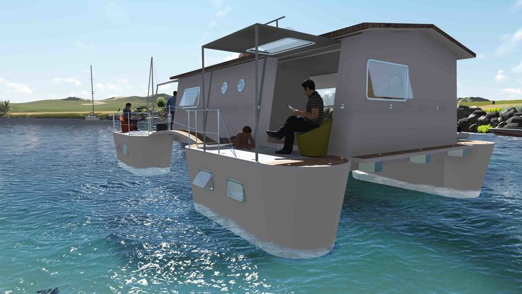 6 Modular Houseboat and Floating Home Manufacturers Around the World - Photo 2 of 6 - French company Farea manufactures floating homes that are certified as boats. This is important in France, as it means the houses are allowed in lakes, lagoons, and at sea. They're about 915 square feet each and come with five twin cabins, three terraces, and a kitchen. The structures can produce their own water and electricity and are packaged in a 40-foot-long transportable container for international…