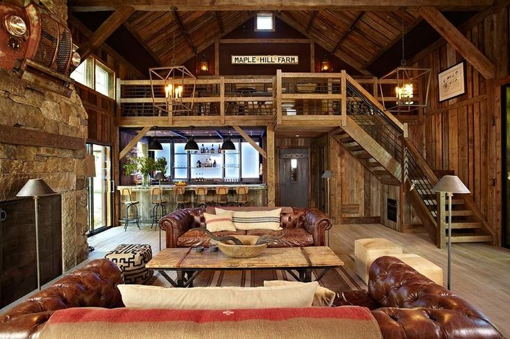 the stair  the 1 1 2 stories instead of dormers  the fireplace on the sidewall  the barn siding and that grill above the fireplace  D  rustic family room by Kelly  amp  Co