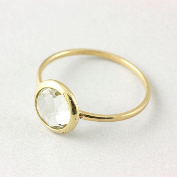 Green amethyst ring 14K gold February by KyklosJewelryLab on Etsy
