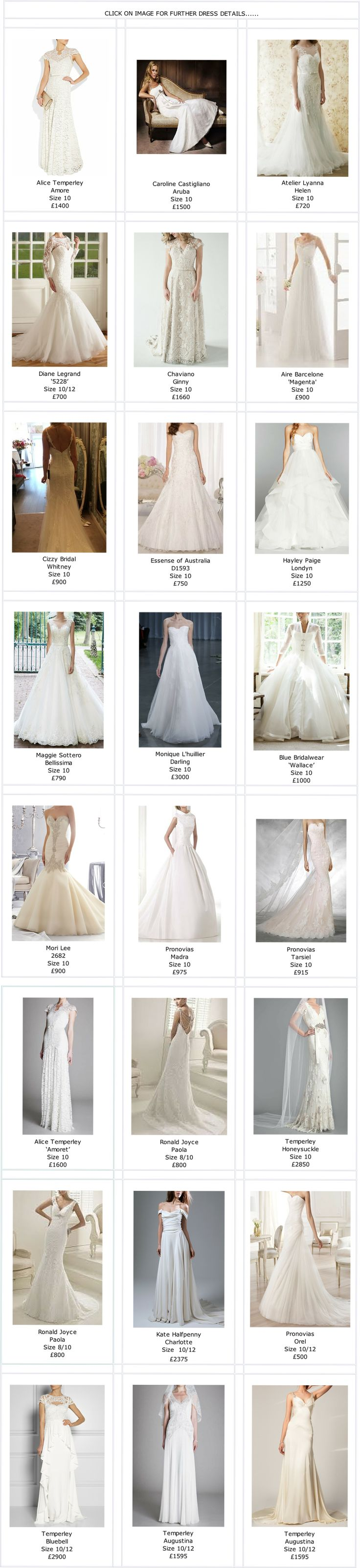 Brides Dress Revisited | Full Collection Details of Second Hand Designer Wedding Dresses