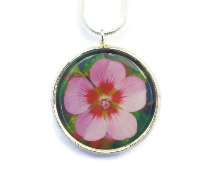 Handmade Flower Necklace, Pink Flower Pendant, Floral Jewelry, Gift For Mom, Gift For Her, Botanical Necklace, Romantic Jewelry by Larryware on Etsy