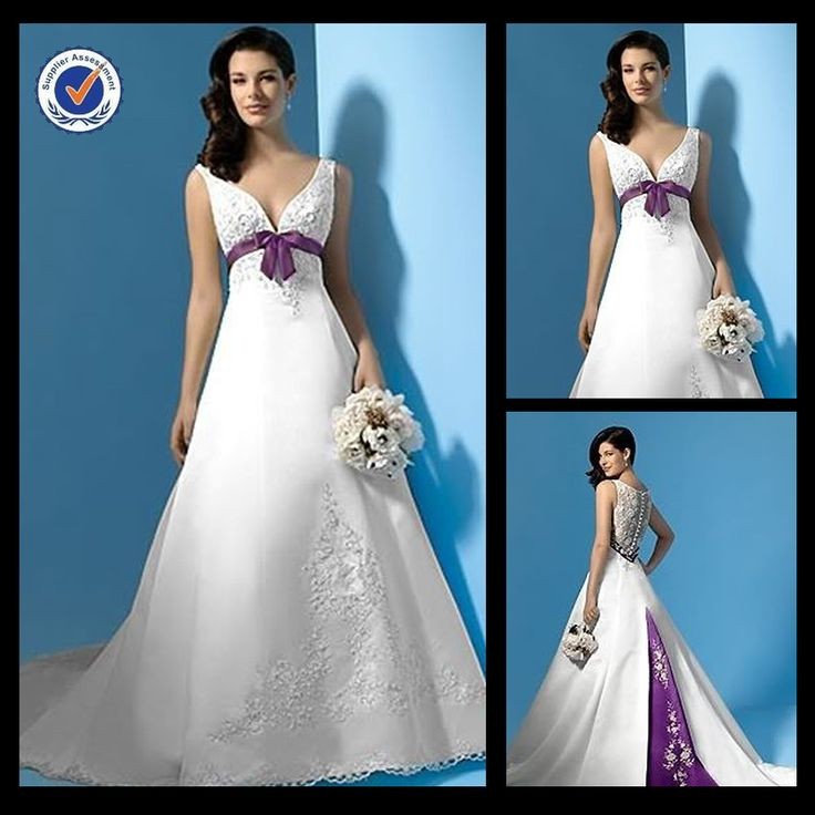 WA00288 Hot fancy delicate stacked v-neck pleat a-line wedding dress with white wedding dress purple sash $208.00