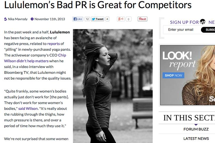 """""""In the past week and a half, Lululemon has been facing an avalanche of negative press, related to reports of """"pilling"""" in newly-purchased yoga pants... And that's where Cory Vines comes in.""""  Read more: http://www.thefashionspot.com/buzz-news/latest-news/349167-newcomer-activewear-brand-reports-staggering-sales-increase-in-the-wake-of-lululemon-controversy/"""