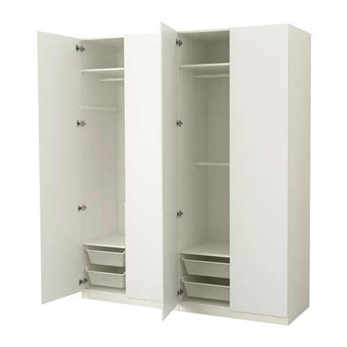 PAX Wardrobe, white, Tanem white white Tanem white - soft closing hinge 200x60x236 cm